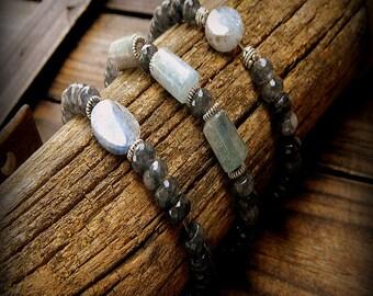 Coal Dust, Kyanite Bracelets- Set Of Three Stack Bracelets- Bohemian Stack Bracelets- Faceted Jade Stretch Bracelets