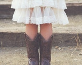 SHIPS TODAY- Flower Girl Dress~Lace Flower Girl Dress~Rustic~Country Flower Girl~Lace Dress~Ivory Lace Dress~Bridesmaid~Vintage  Dress