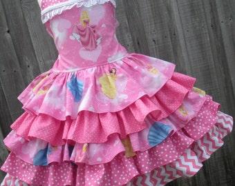 Made to Order Custom Boutique Disney Princess Pink Ruffle Aurora Sleeping Beauty Girl Dress 2 3 4 5 6 7 8