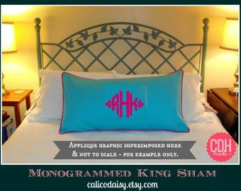 The South Pointe Applique Monogrammed King Pillow Sham - King 20 x 36