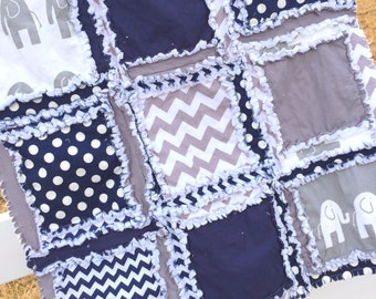 Elephant Baby Mini Crib Quilt - Small Baby Blanket Navy Blue, Gray - Baby Boy Crib Bedding for Nursery - Elephant Stroller Car Seat Blanket