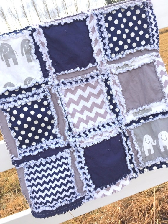Elephant Baby Quilt Baby Blanket In Navy Blue By