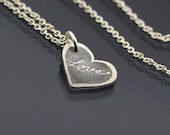 Tiny Sterling Silver Handwritten Love Heart Necklace, gift for Valentine's Day