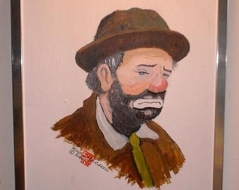 Weary Willie the Clown, Original painting, reduced price, Free shipping in USA