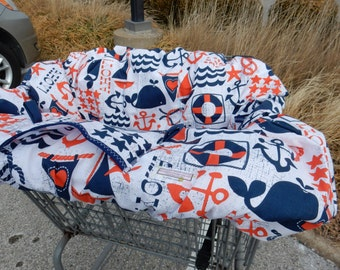 Shopping Cart cover  for boy or girl.....Ahoy Matey