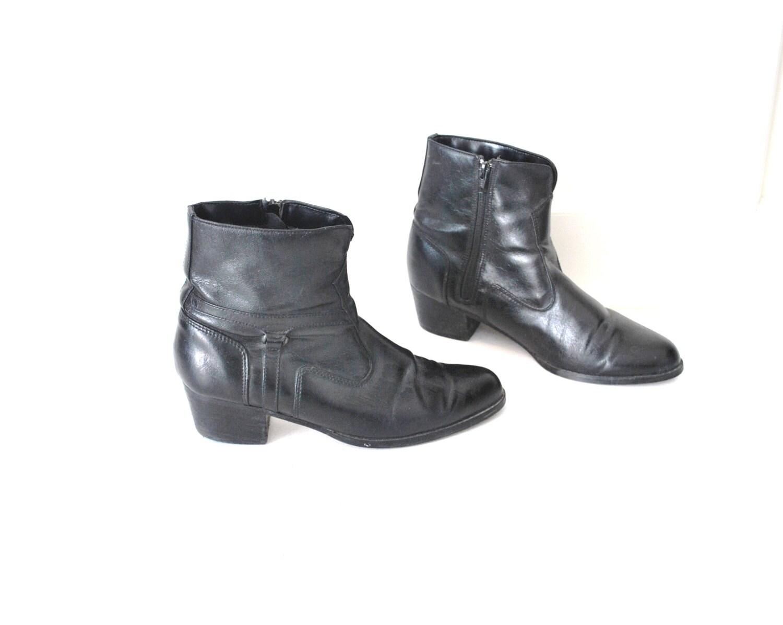 size 9 5 black vegan leather beatle boots vintage 70s 80s