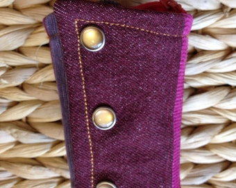 western wrist wallet - pearl snaps - maroon, red, fuschia, brown - stripes XS