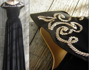 "Vintage 1930s Black Evening Gown Gold Sequins 300"" Full Sweep - Red Carpet Statement - S to XS"