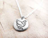 Tiny Chicken necklace,  silver chicken jewelry - small chicken pendant necklace