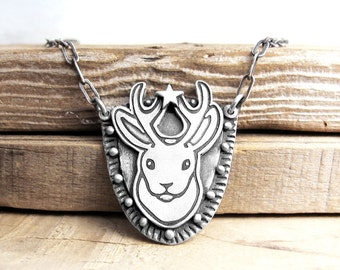 Jackalope necklace, faux taxidermy, Jackalope jewelry, mythical creature, mythic animal, wife gift, girlfriend gift