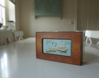 Vintage Wooden Box Cashs Silk Embroidered Mother Swan and Cygnets Padded Top - EnglishPreserves