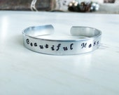 Beautiful Mess - Hand Stamped Silver Cuff