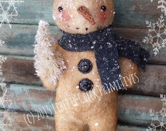 Primitive Snowman Ornie Pattern Digital Instant Download