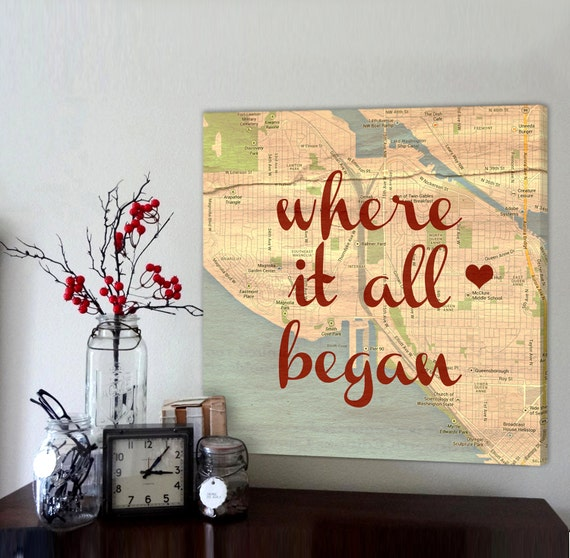 Cotton Wedding Anniversary Gift Ideas Australia : Gift Ideas Where it all began custom map, Personalized Couple, Wedding ...