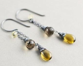 Quartz Dangle Earrings, Oxidized Earrings, Stone Earrings