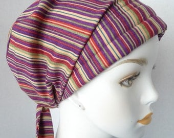 Classic Striped Cancer Hat Chemo Scarf Cap Head Wrap Alopecia Turban Hair Loss Headcovering Bad Hair Day
