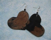 Hair on Leather Heart Earrings - Brown and Black with Black accents. Sterling Silver  earwires