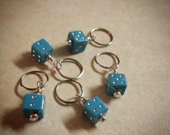 SALE Lady Luck: Teal Set of 5 Tiny Dice Stitch Markers