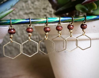 SALE Hexagon with the Wind: Set of 6 Lace Stitch Markers