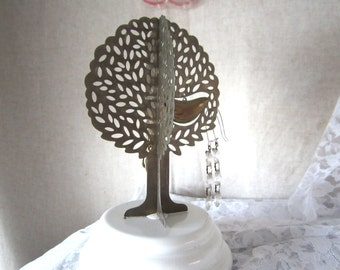 Tree of Life Music Box & Earring Holder 3D Tree Sculpture Mid Century Jewelry Holder w/ Bird Figure Shabby Chic Gift Idea