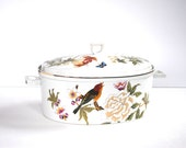 porcelain casserole and lid botanical floral birds vintage ceramic pottery covered crock crockery cookware portmeirion style imperfect