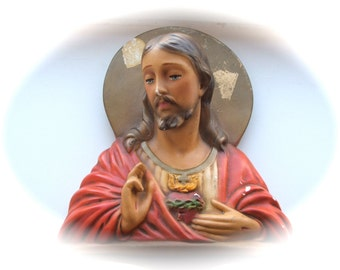 Shabby Chalkware Jesus Christ with Sacred Heart Wall Plaque