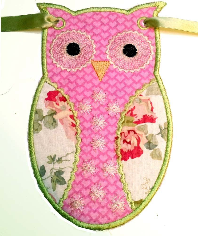 Owl bunting machine embroidery designs from chelseabint on