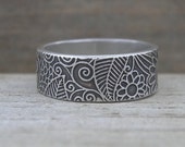 MADE to ORDER Funky Doodle Band Rustic Sterling Stacking Ring PMC Artisan Jewelry