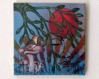 peaceful moments mixed media painting art - housewarming hostess gift under 50 - tremundo