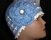 Crochet   Flapper Woman Miss Teen Beanie Hat Cap Skull Cap Light Blue + White