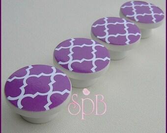 Purple Quatrefoil Knobs • Moroccan Style Knobs Violet • Quatrefoil • Dresser Knobs • Drawer Knobs • Drawer Pulls • Quatrefoil Knobs