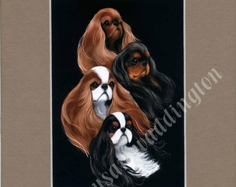 matted 5x7 English Toy Spaniel dog print