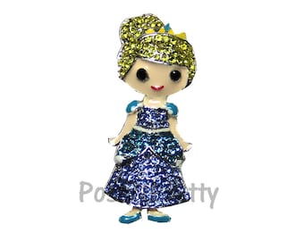 NEW 1.25 inches ONE Character Sparkle Flat back Center - BLINGED Cinderella