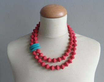 Red turquoise statement necklace, multi strand necklace