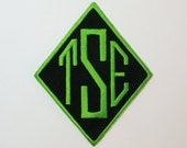 Monogrammed Iron on Sew on Patch Diamond Shaped 5 Inch Embroidered-100173