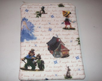 "Pinocchio handmade zipper fabric 7"" 8"" mini ipad Galaxy Kindle Fire Nexus case sleeve cover pouch tablet"