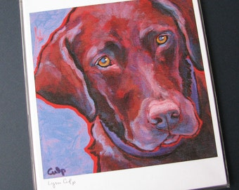 CHOCOLATE LAB Dog 8x10 Signed Art Print from Painting by Lynn Culp