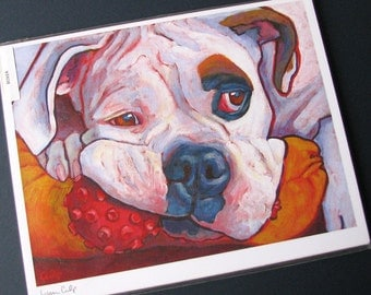 Piebald White BOXER Dog 8x10 Signed Art Print from Painting by Lynn Culp
