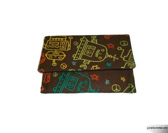 Credit Business Card Wallet Case Neon Robots on Brown