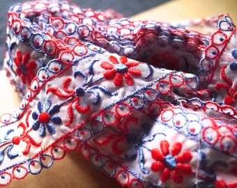 Vintage Red and Blue Jacquard Flower Trim