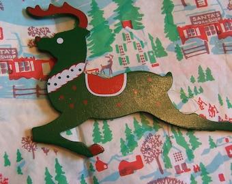 little green wooden deer ornament