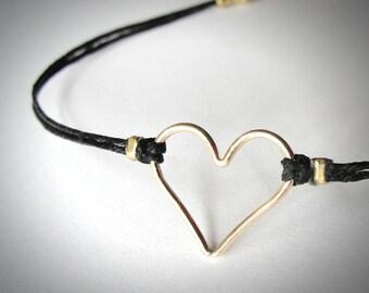 Heart bracelet Gold Heart Bracelet Love Anniversary bracelet Bridesmaid gift graduation valentines ready to ship mothers day