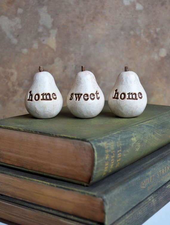 Gift ideas for her / 3 white home sweet home pears ... 3 clay Word Pears, perfect for Christmas Hostess gifts