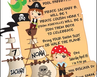Pirate Pool Party Invitation, Pirate twins party invite, pirate birthday party invitation by Rosanna Hope for Babybonbons