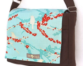 Brown and Blue Bird  MeSSENGER Book Laptop Diaper BAG