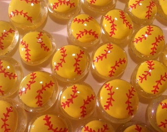 Hand painted glass gems party favors  softball softballs