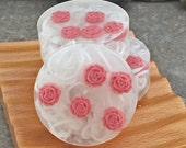Red Rose Glycerin Soap Bar - Set of 3 Round Guest Size - Made to Order