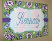 Paisley Personalized Custom canvas letter name sign wall art children baby nursery decor Aqua Blue Green Pink lavender purple stripes white