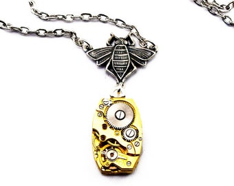 Steampunk Bee Necklace Gold Tones Bee Pendant Steampunk Jewelry Honey Bee Clockwork Charm Silver plated London Particulars