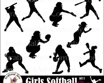 Softball Women set 1 - digital cilipart graphics 9 png files baseball girls [INSTANT DOWNLOAD]